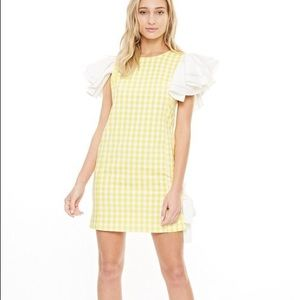 Gingham Dress With Ruffle Shoulders and Side Bow